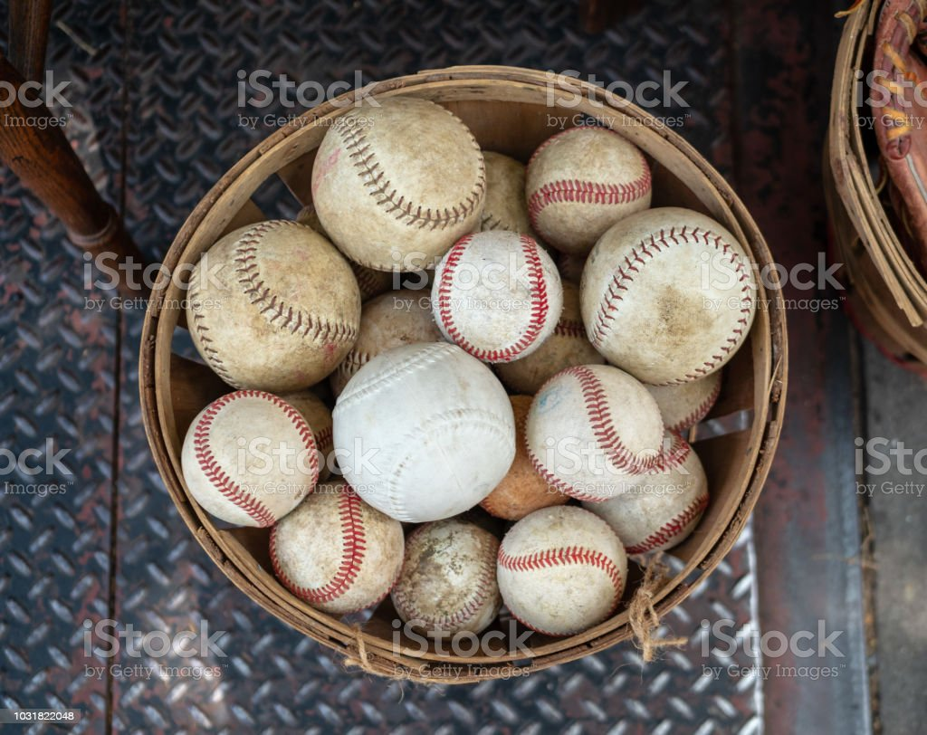 A basket of old weathered baseballs sitting outside on the street stock photo
