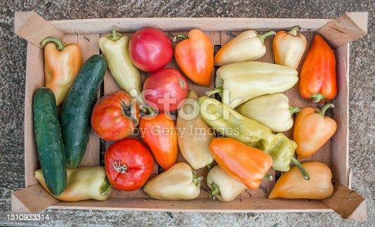 istock Basket of organic home grown vegetables 1310933314