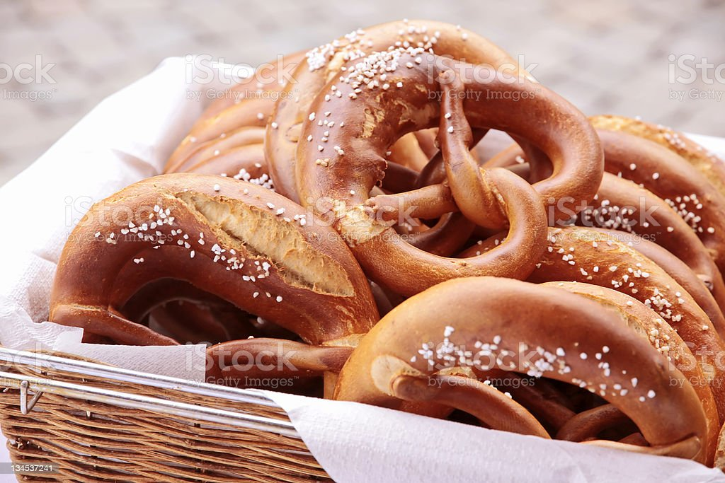 Basket of pretzels stock photo