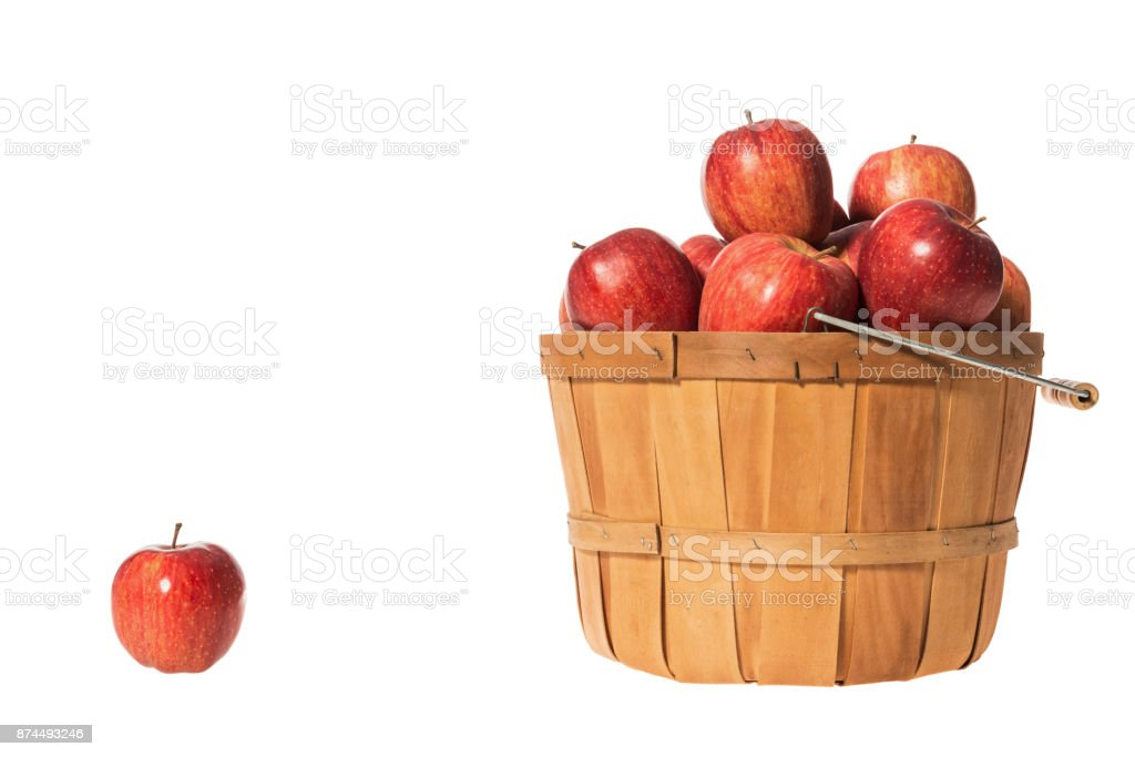 Basket of Red Delicious Apples on white background stock photo