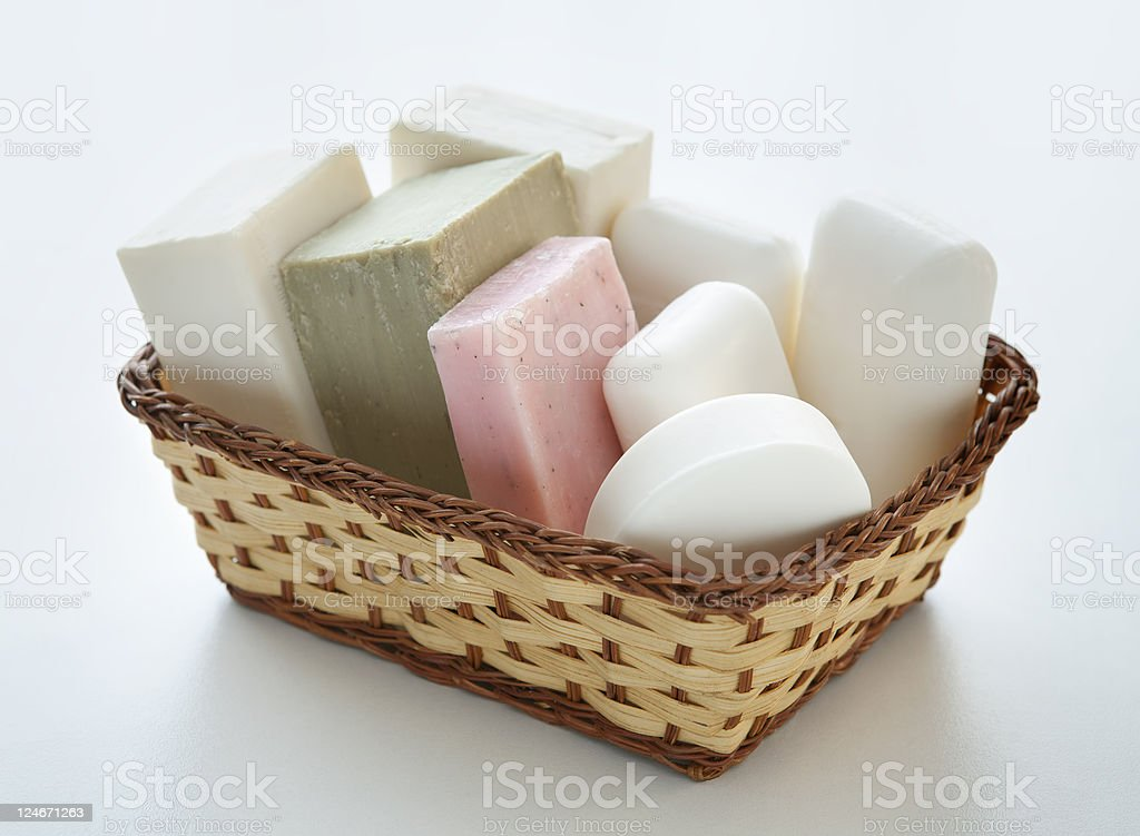 basket of soap stock photo