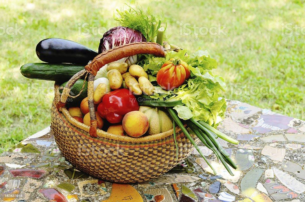 Basket of summer fruit and veg royalty-free stock photo