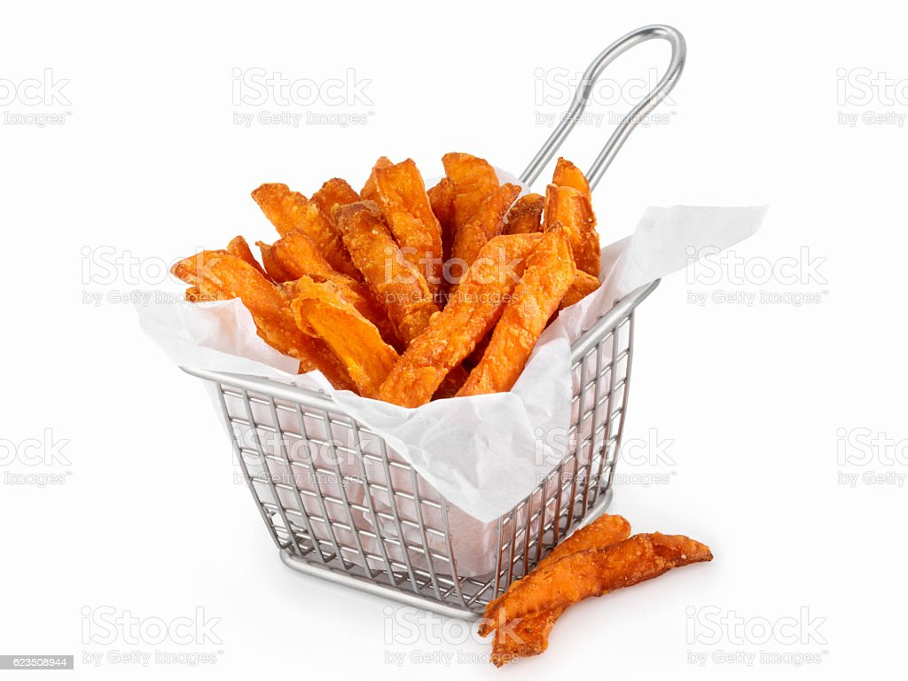 Basket of Sweet Potato French Fries - fotografia de stock