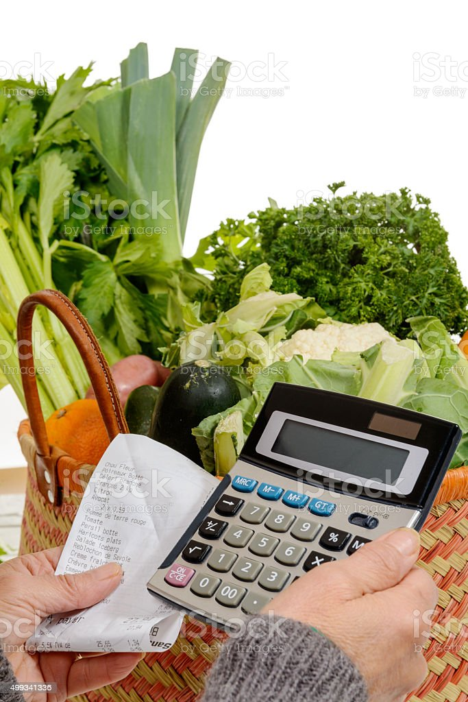 basket of vegetables with a calculator stock photo