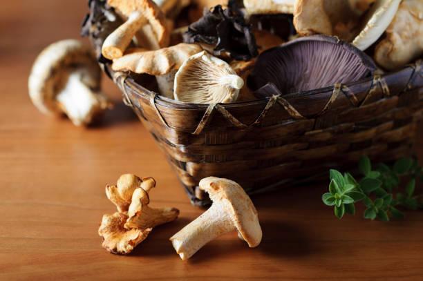 バスケットの野生キノコ - 松茸 ストックフォトと画像