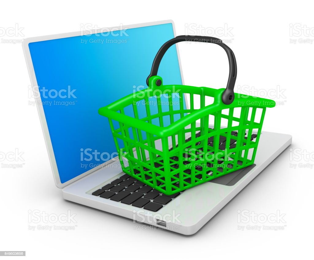 Basket on the laptop stock photo