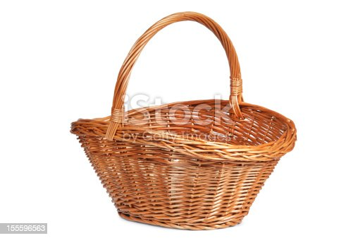 Brown wicker basket isolated on white.