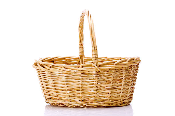 basket close-up of wooden basket isolated on white background wicker stock pictures, royalty-free photos & images