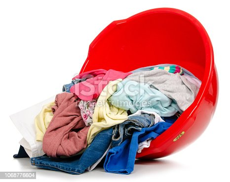 460589747 istock photo Basket plastic basin with clothes laundry 1068776604