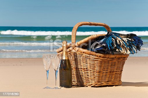 istock Basket ready for a beach picnic with two champagne glasses 177318280