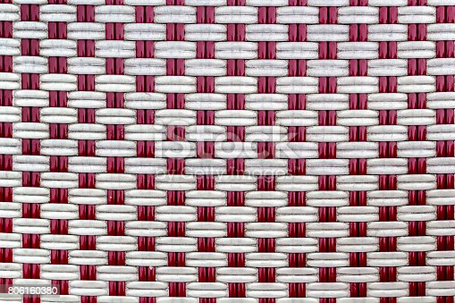 Close up view of red and white basket weave.