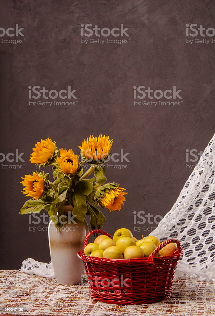 basket with apples royalty-free stock photo