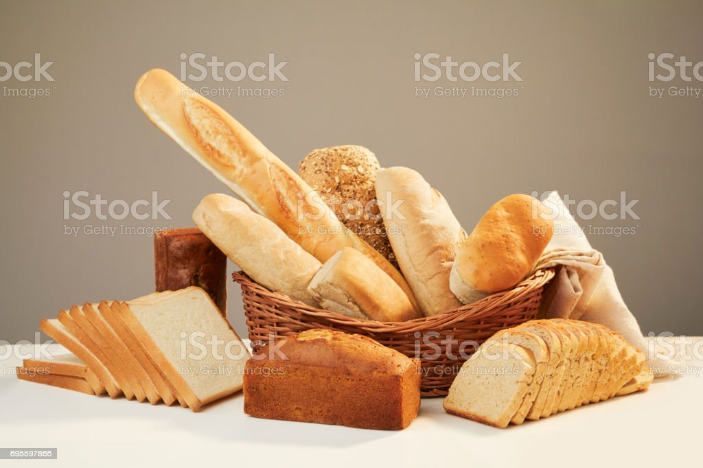 Basket with assorted baking products stock photo