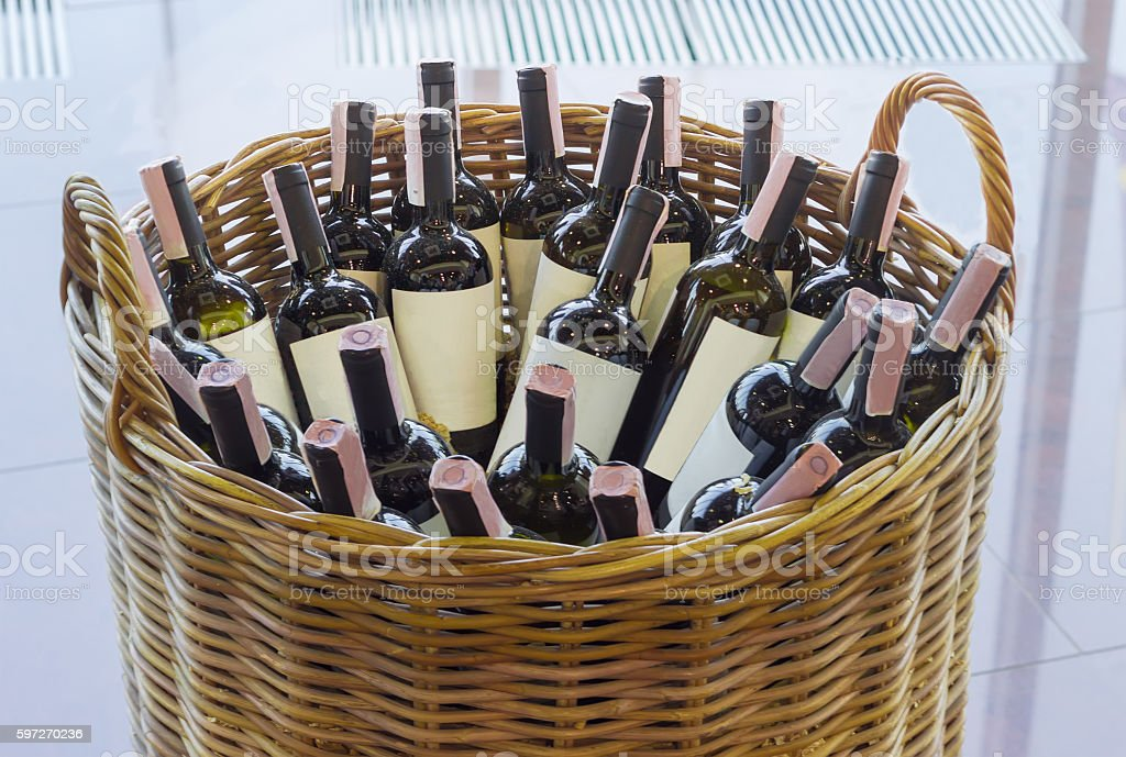 Basket with bottles of wine royalty-free stock photo