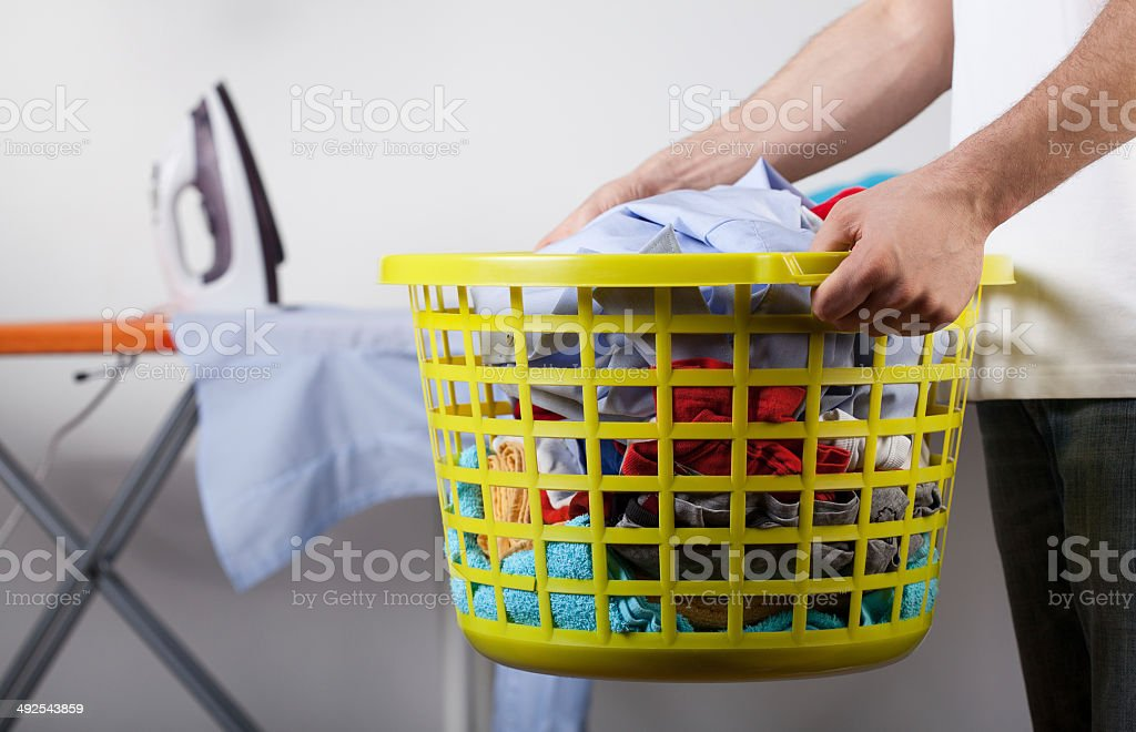 Basket with clean clothes stock photo