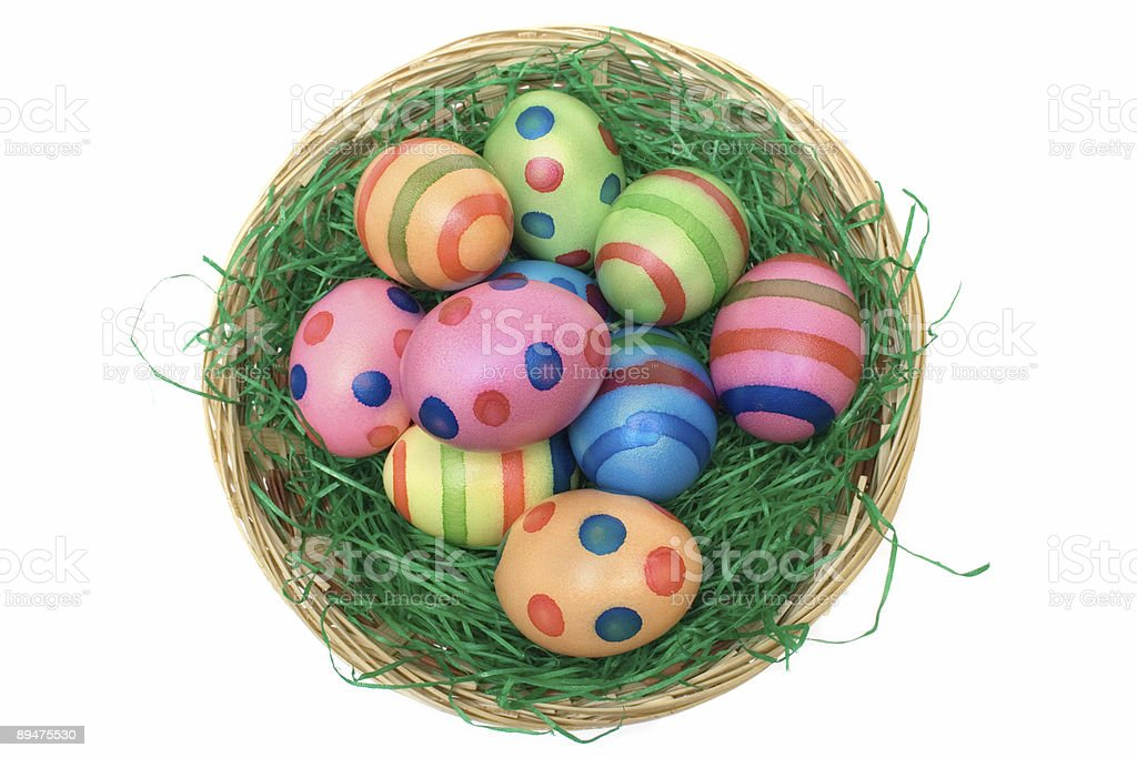 Basket with Colored Eggs (Top View) royalty-free stock photo