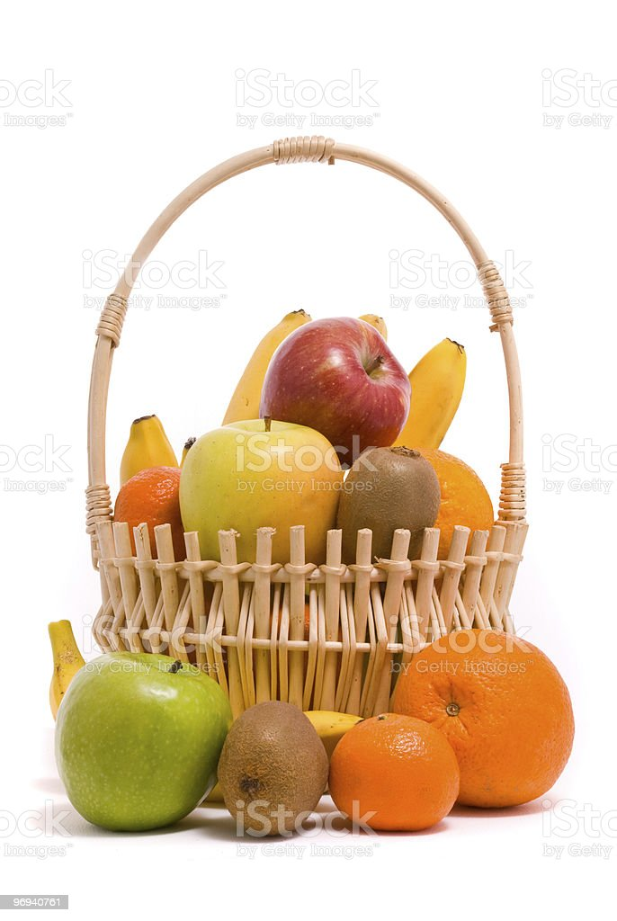 Basket with colorful fruits royalty-free stock photo