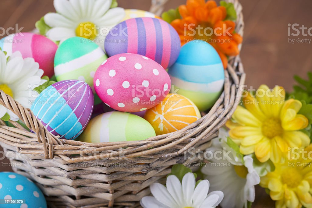 Basket with colourful hand-painted Easter eggs stock photo