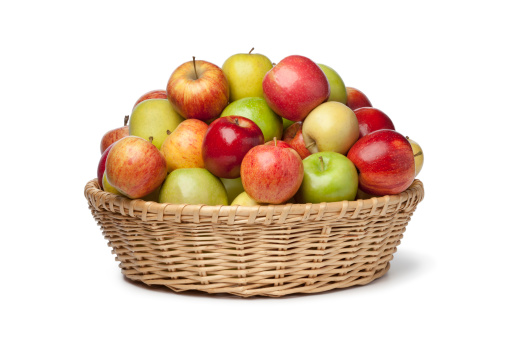 Basket with different types of apples