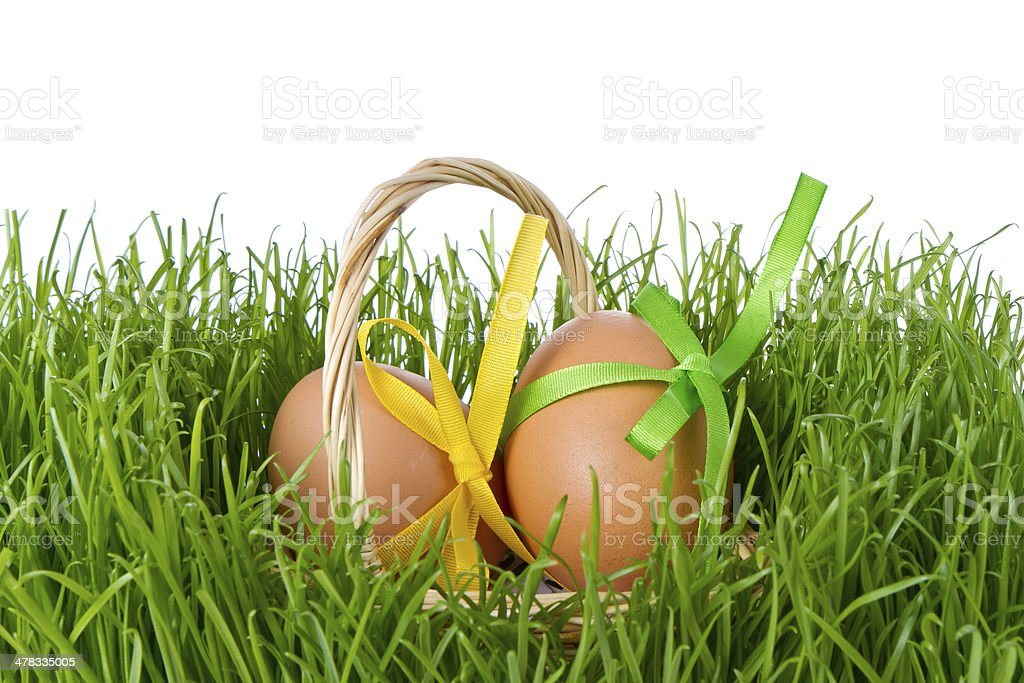 basket with easter eggs royalty-free stock photo