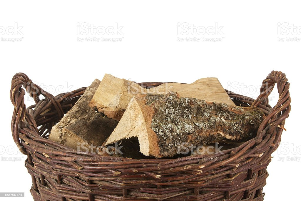 Basket with firewood royalty-free stock photo