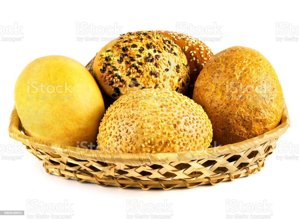 Basket with fresh rolls royalty-free stock photo