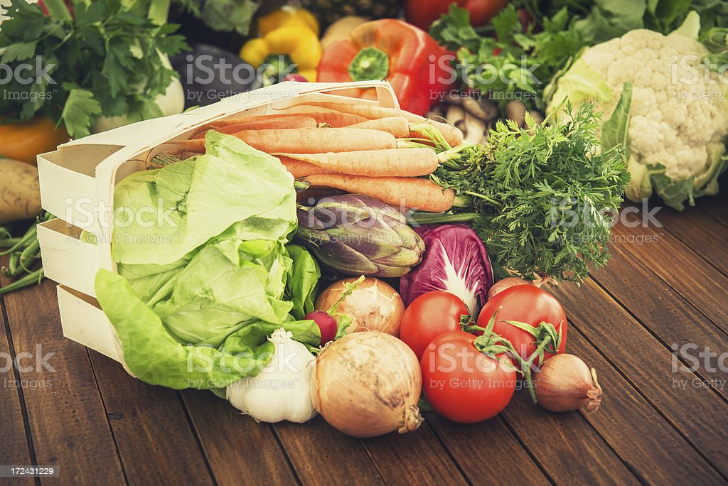 Basket with Fresh vegetables mix royalty-free stock photo