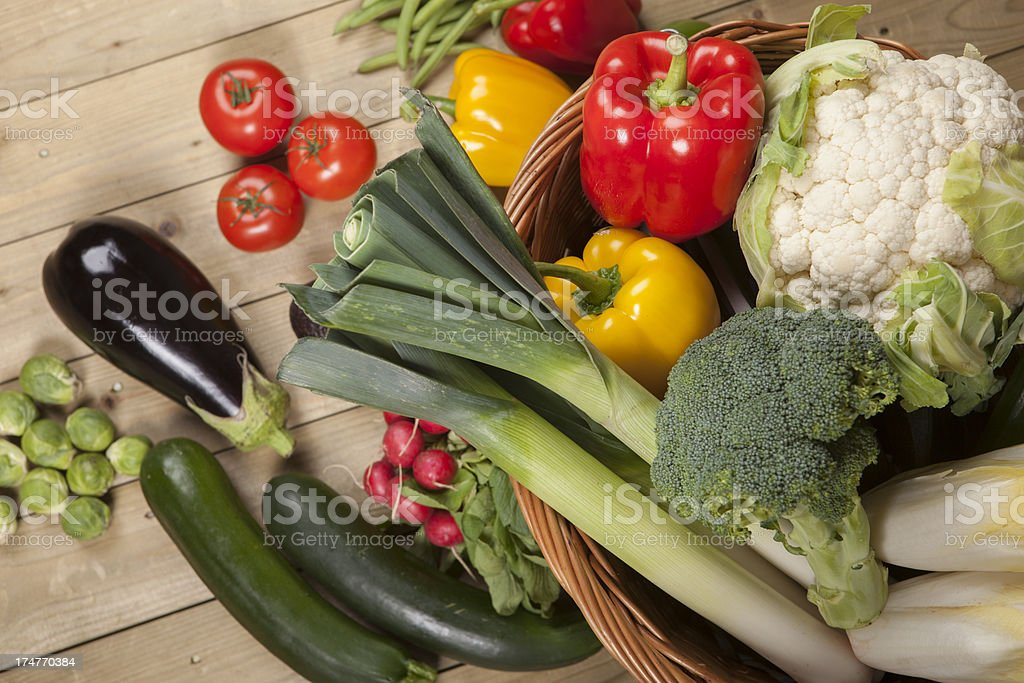Basket with fresh vegetables royalty-free stock photo