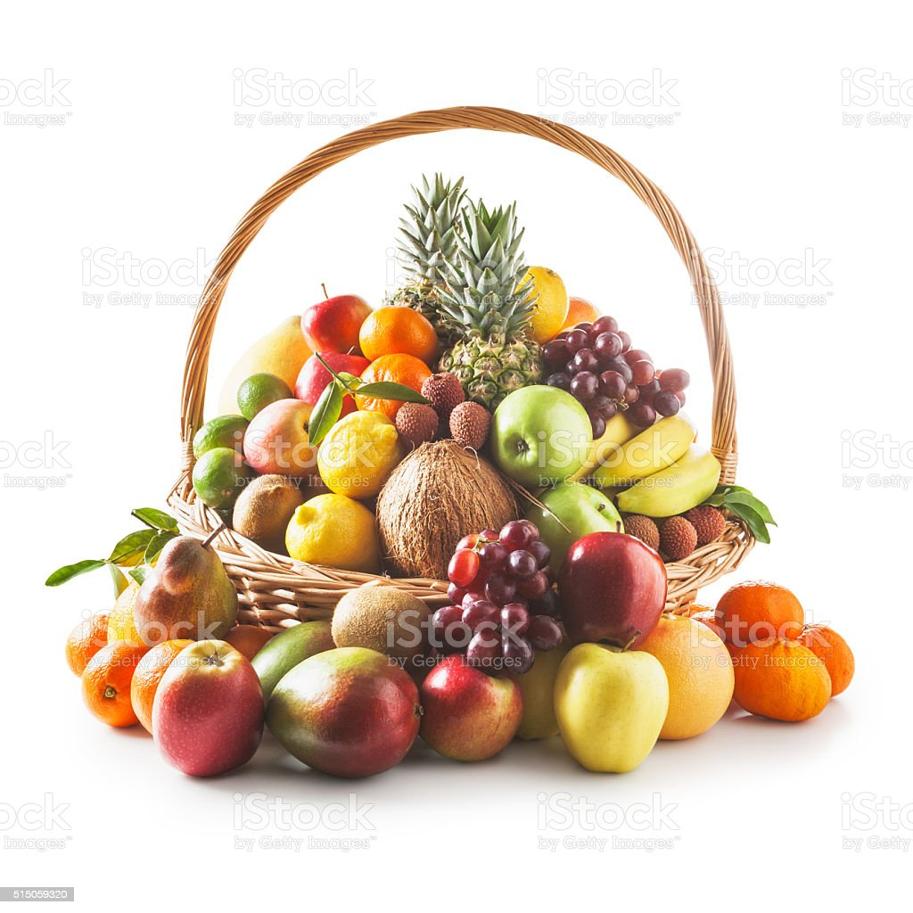 Basket with fruits stock photo