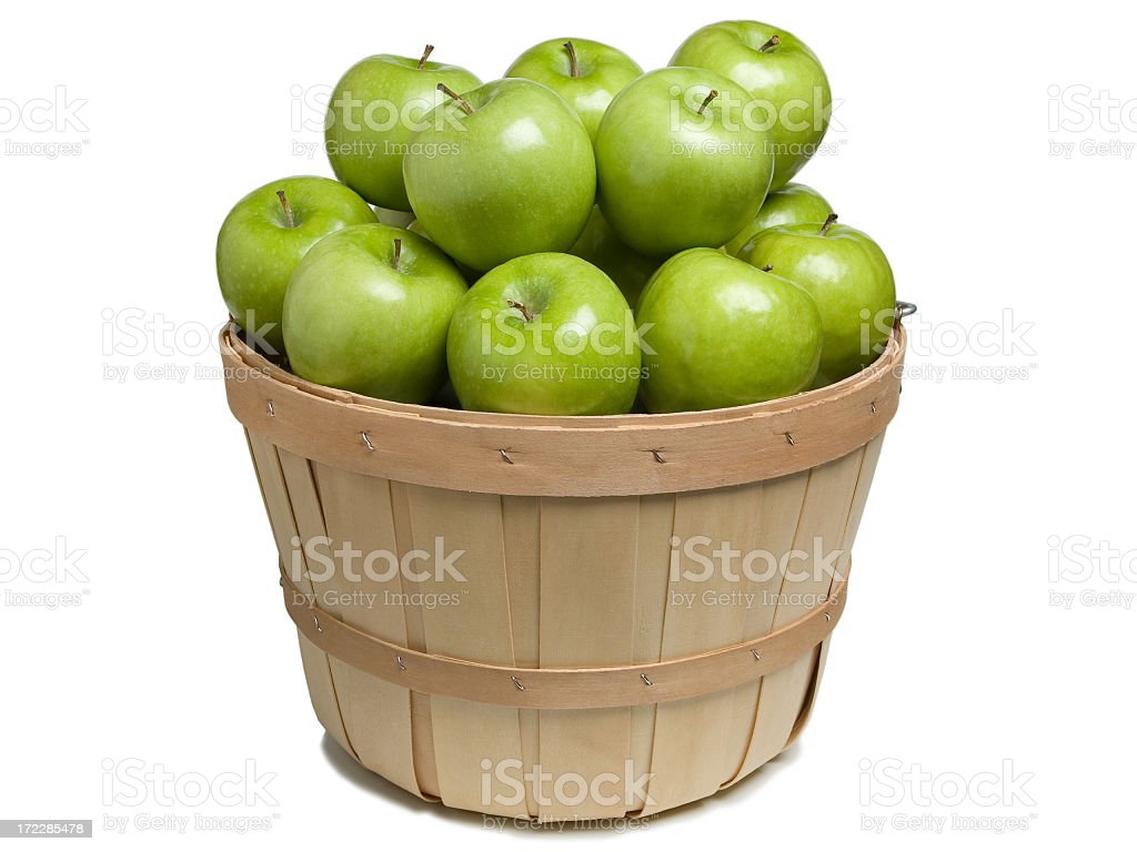 Basket with Green Apples stock photo