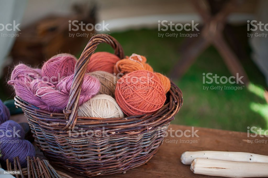 basket with knitting thread stock photo