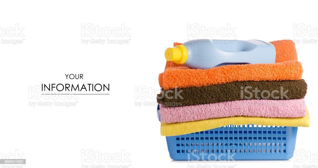 Korb Mit Wäsche Handtücher Flasche Liquid Powder Muster Stock ...