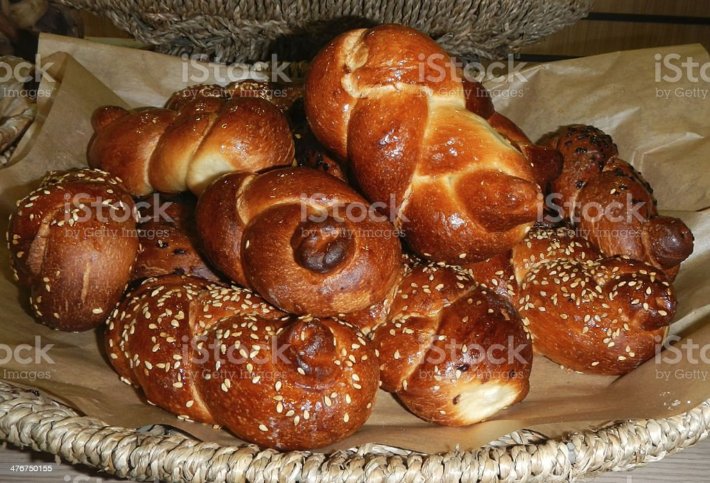 Basket with loaves of challah bred just after bakery stock photo