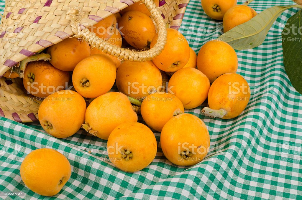 Basket with loquats stock photo