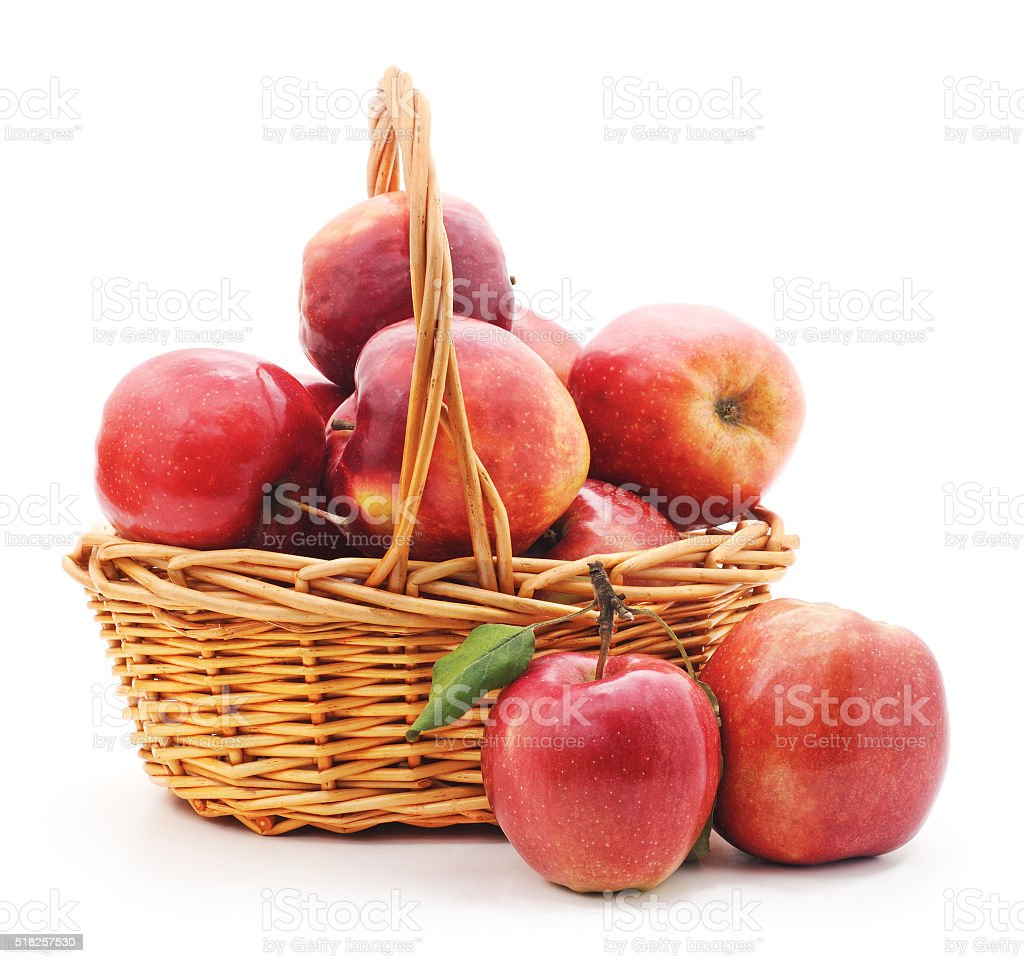 Basket with red apples. stock photo