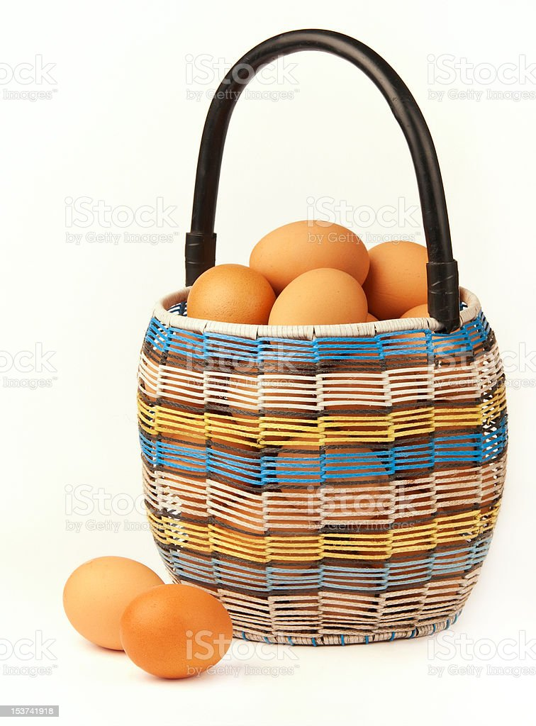 Basket with the eggs. royalty-free stock photo
