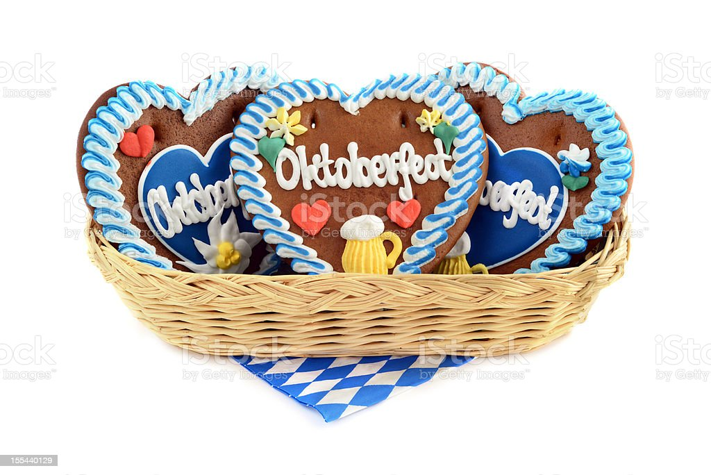 Basket with three Oktoberfest Gingerbread Cookies royalty-free stock photo