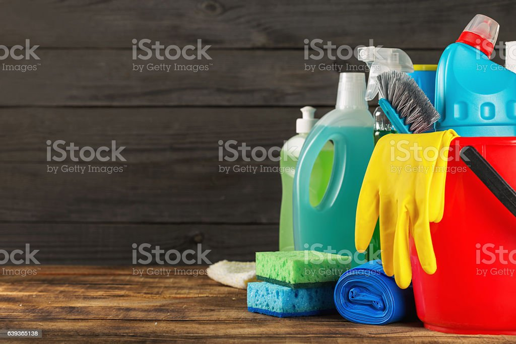 Basket with variety cleaning product with copy space ストックフォト