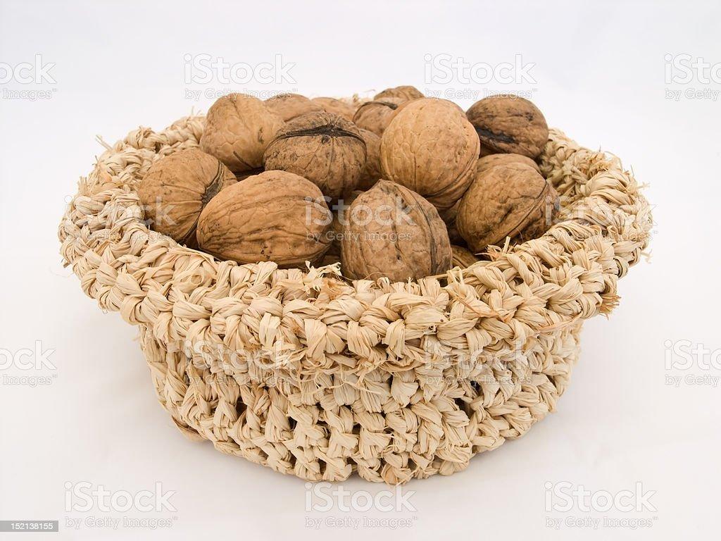 Basket with walnuts stock photo