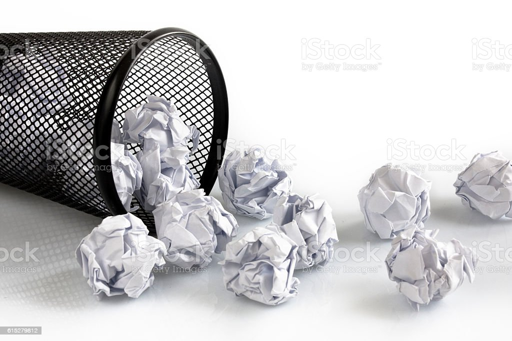 Basket with white paper balls stock photo