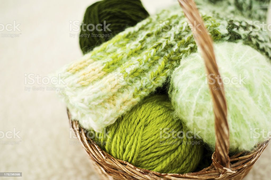Basket with wool royalty-free stock photo