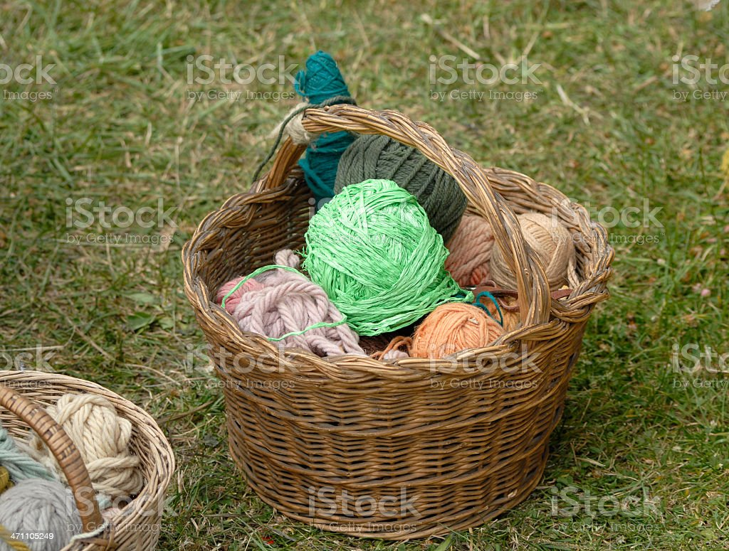 Basket with wool stock photo