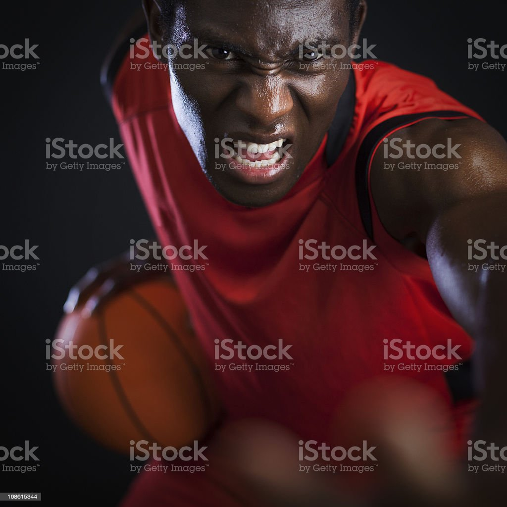 Basketball agressive palyer royalty-free stock photo
