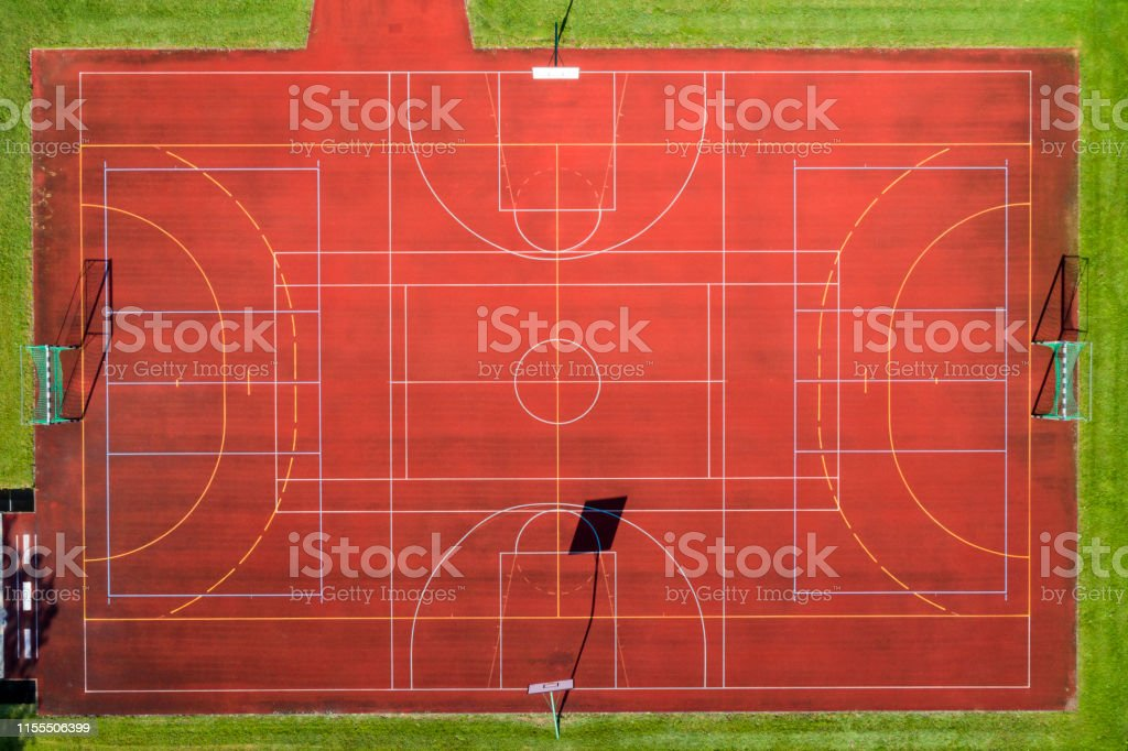 Aerial view of basketball and handball fields.