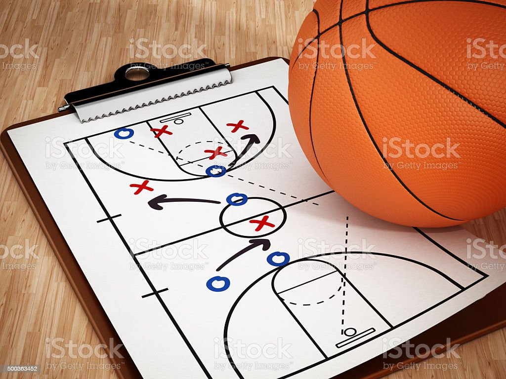 Basketball and strategy board stock photo