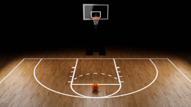 basketball arena with basketball ball - basketball hoop stock pictures, royalty-free photos & images