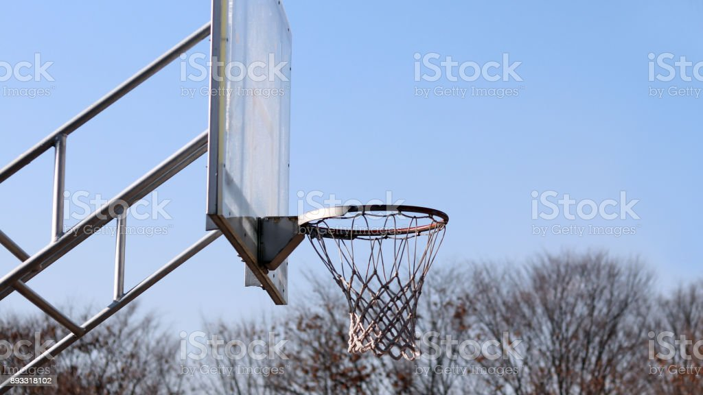 Basketball backboard and basket in the park. stock photo