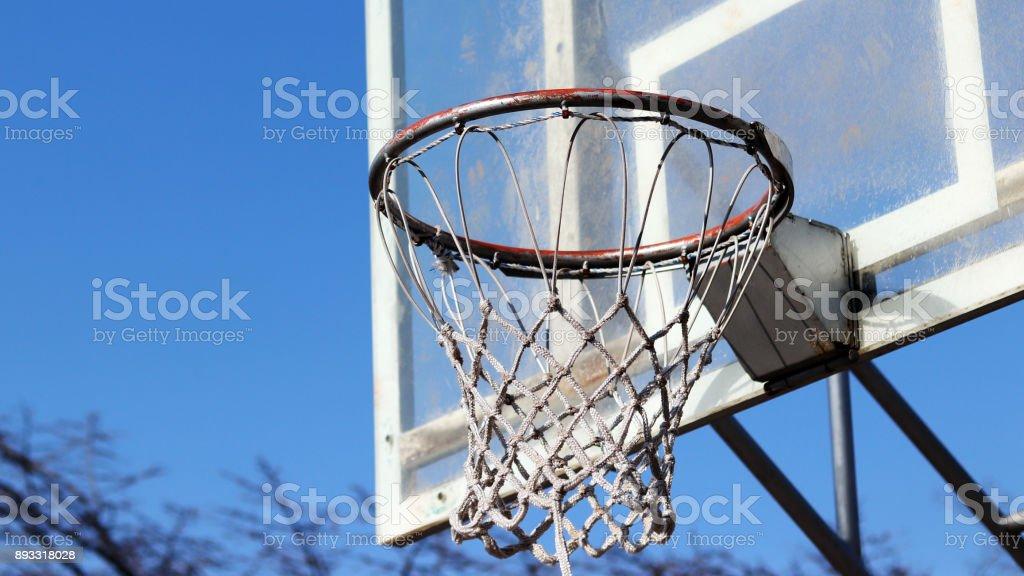 Basketball backboard and basket stock photo