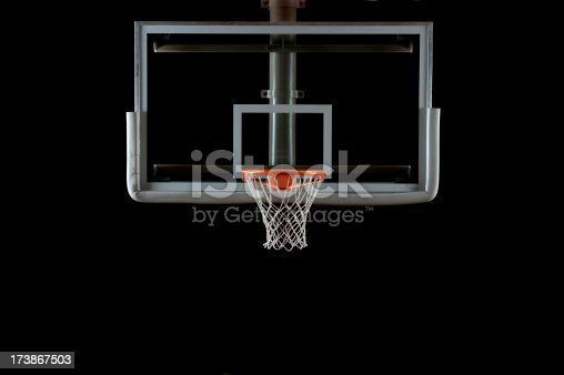 A glass basketball backboard and hoop isolated on black; lighting from the left and right sides.Here is a good link to some other