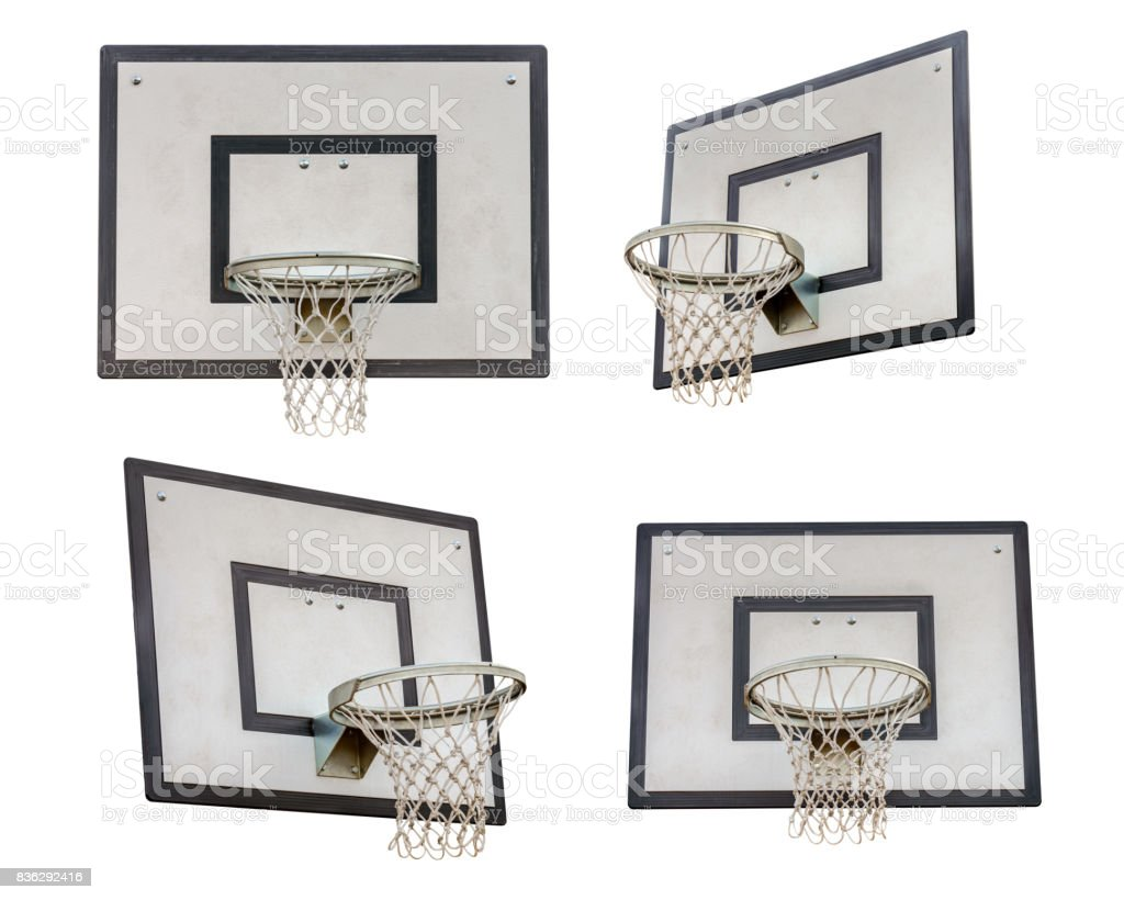 basketball backboard isolated on white background stock photo